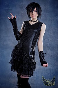 Dress with gloves G.L.P belts frills visual kei