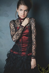 Red gothic blouse PENTAGRAMME lace