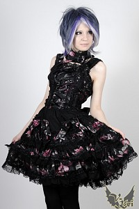 Gothic Lolita dress flowers G.L.P black pink with necklace