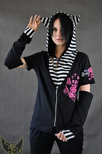 Hoodie with cat ears G.L.P black white stripes visual kei