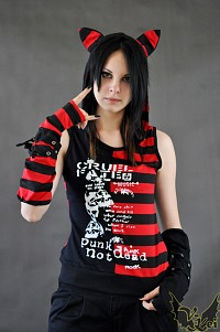 Top with gloves G.L.P cat ears black red stripes
