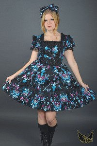 Blue Black dress G.L.P gothic lolita flowers headdress