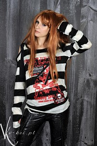Sweather with long sleeves G.L.P black white stripes visual kei
