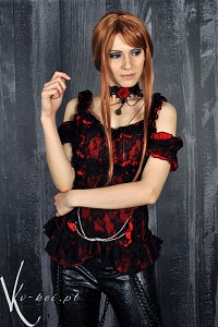 Gothic blouse top G.L.P black red chains