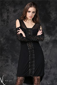 Black gothic dress rock long sleeves