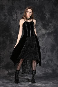 Long black velvet Gothic dress jacquard lace