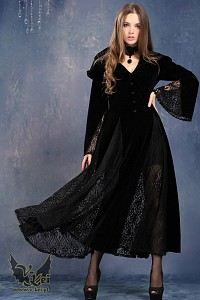 Black long sleeve Gothic Vampire dress gow