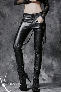 Pants with detachable iron chain PUNK Gothic embossed leather