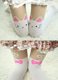 Stockings white Cat tattoo cats tail