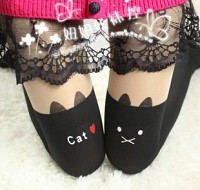 Stockings black Cat tattoo kawaii harajuku